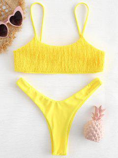 Smocked High Leg Bikini Set - Yellow S