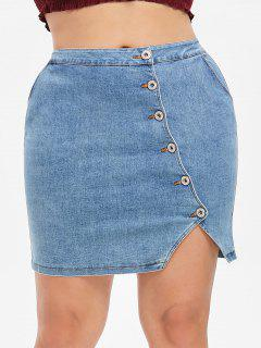 Plus Size Buttoned Denim Skirt - Denim Blue L