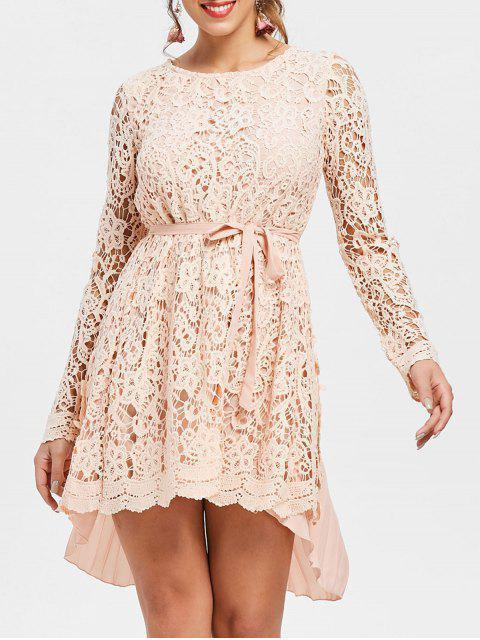 Langes Hülsen Asymmetrischer Saum Spitze mini Falte-Kleid - Pink L Mobile