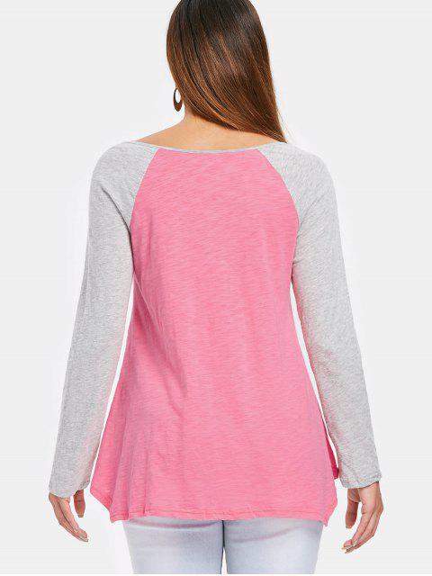 T-Shirt Asimmetrica con Maniche Raglan - Rosa M Mobile