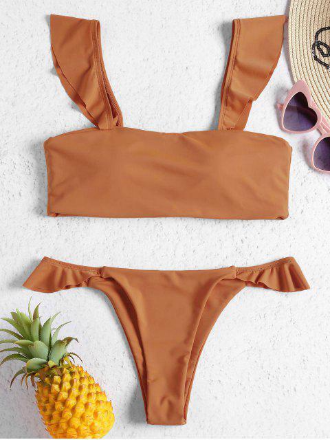 Conjunto de bikini con tanga acolchada y dobladillo fruncido - Marrón Claro L Mobile