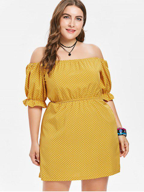 unique Off Shoulder Plus Size Polka Dot Dress - BEE YELLOW 1X Mobile