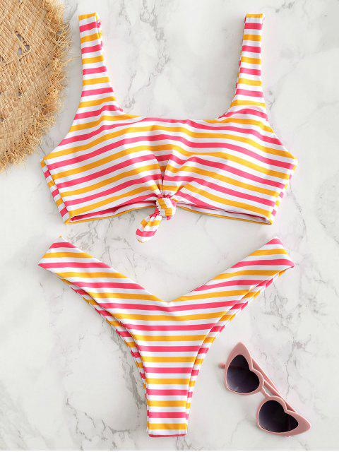 sale Scoop Knotted Striped Bikini - RUBBER DUCKY YELLOW L Mobile