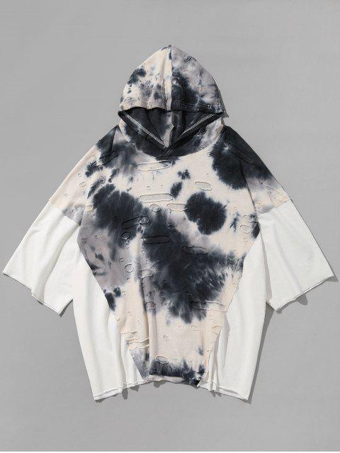 Personalidad Empalmado Ripped Hooded T-shirt - Blanco XL Mobile