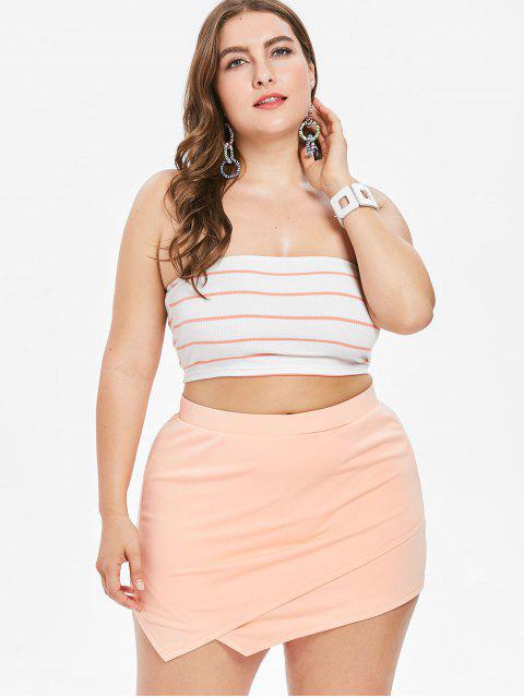 Übergroße Tube Top Und Asymmetrisches Shorts Set - Orange Rosa 1X Mobile