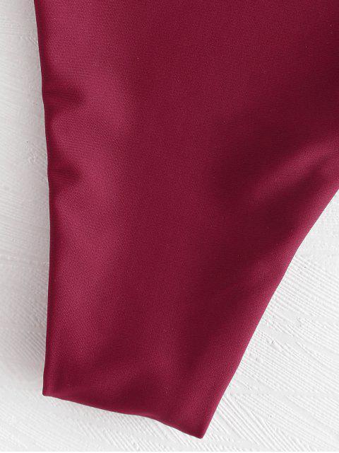 latest Twist Front Padded Bikini Set - RED WINE S Mobile