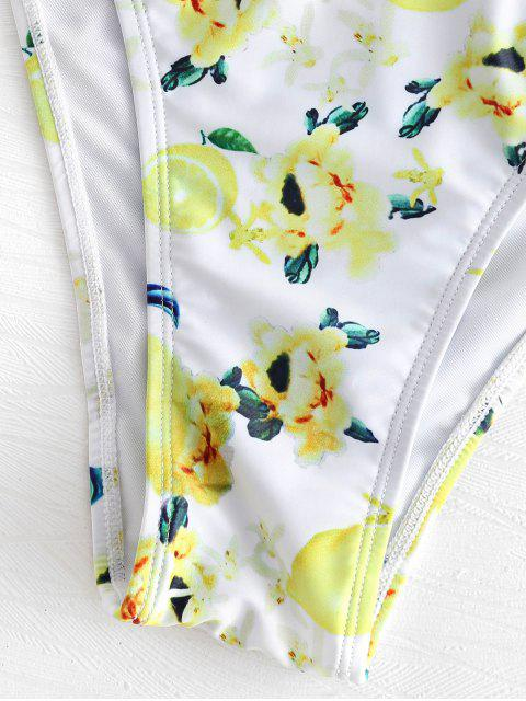 outfit Floral Lemon Print Bandeau Bikini Set - WHITE L Mobile