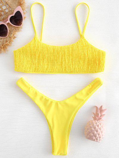 8a668c1a69de8 Smocked High Leg Bikini Set - Yellow L