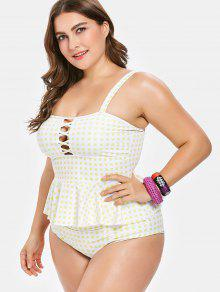17da9af133230 31% OFF] 2019 Gingham Plus Size Peplum Tankini In WHITE | ZAFUL