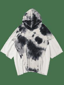 Hooded Ripped T L shirt Personalidad Blanco Empalmado SnaOxff
