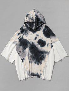 Personalidad Empalmado Ripped Hooded T-shirt - Blanco L
