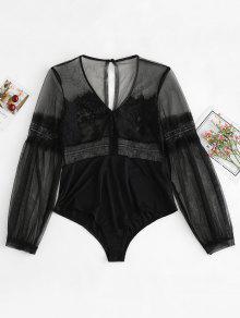 تول الرباط Jesey فانوس كم الملابس الداخلية ارتداءها - أسود