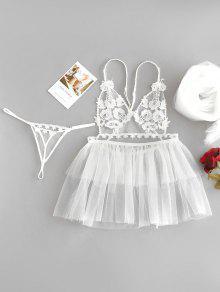 بيبي دول ثونغ اللباس الداخلي الحجاب زفافي العرسان - أبيض