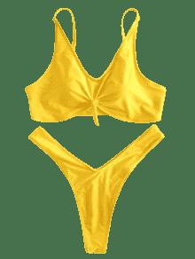 2x Alta De Ma 237;z Con Pierna Conjunto o De Amarillo Y Bikini De Nudo Dise Pwxf6qz