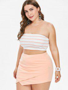 1802cbd7c71 31% OFF  2019 Plus Size Tube Top And Asymmetric Shorts Set In ORANGE ...
