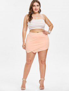ee24ec3613 28% OFF  2019 Plus Size Tube Top And Asymmetric Shorts Set In ORANGE ...