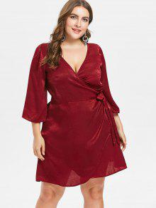Vino Short Tinto Plus Dress Size Plunge L Wrap XqnZOFn7