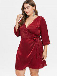 61e87fc9a7 27% OFF  2019 Plunge Plus Size Short Wrap Dress In RED WINE