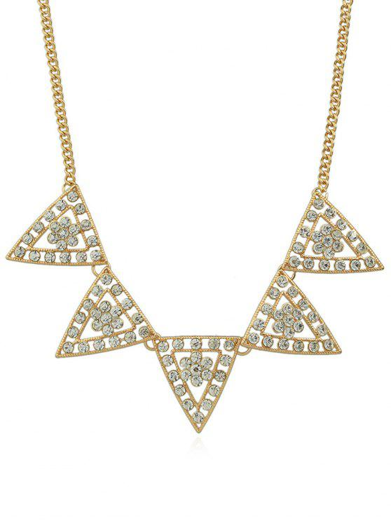 hot Triangle Designed Rhinestone Chain Necklace - GOLD