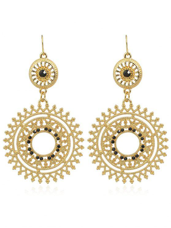 outfit Hollow out Rhinestone Round Shaped Dangle Earrings - BLACK