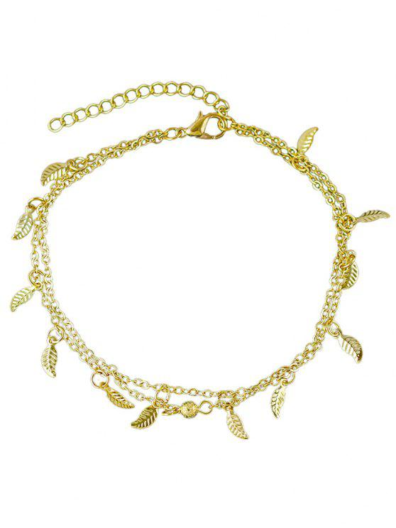 outfits Leaves Design Layered Chain Anklet - GOLD