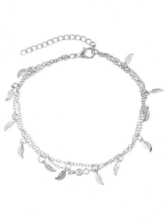 shops Leaves Design Layered Chain Anklet - SILVER