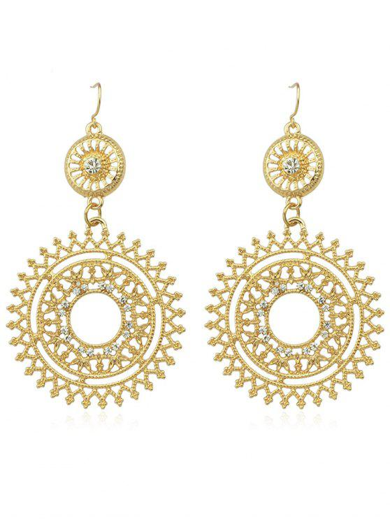 latest Hollow out Rhinestone Round Shaped Dangle Earrings - GOLD