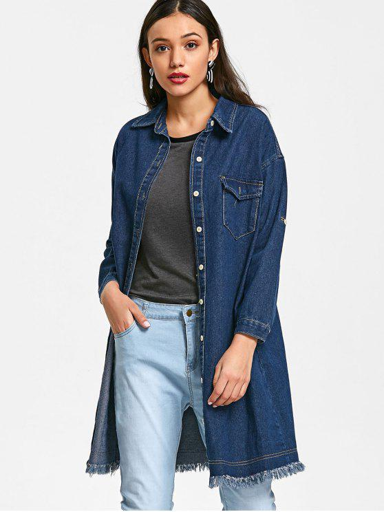 shops Raw Hem Denim Coat - DENIM BLUE S