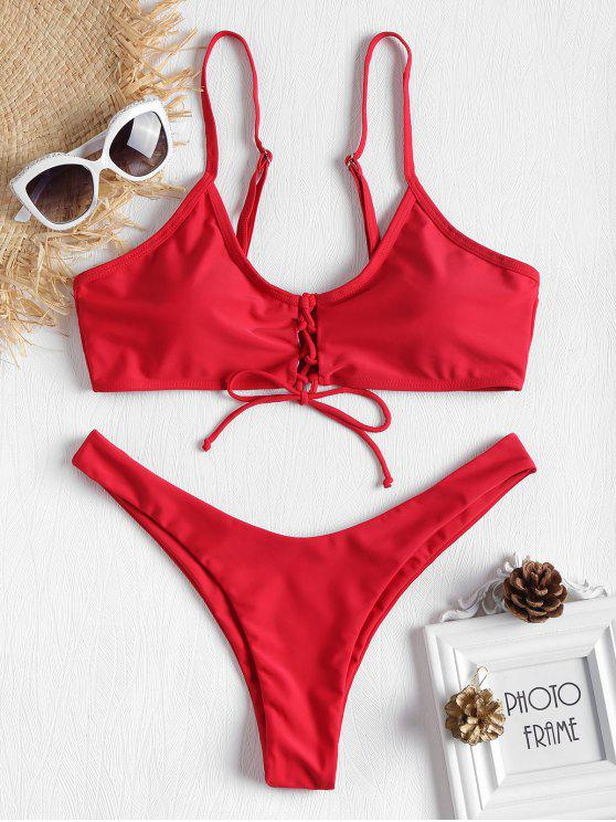 ladies Front Lace-up Low Waist Bikini - FIRE ENGINE RED S