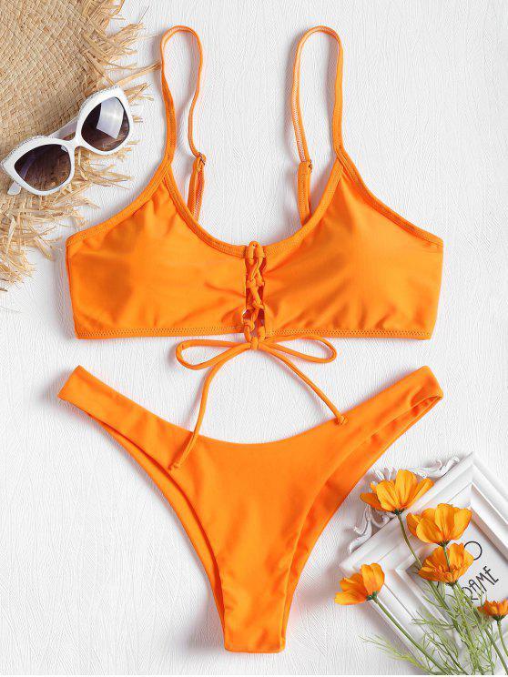 Bikini Taille Basse à Lacets Devant - Orange M