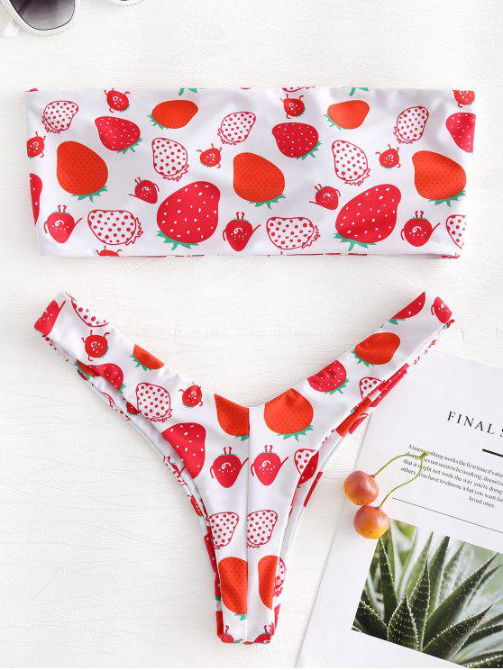 outfits Strawberry Print Strapless Padded Bikini - WHITE L