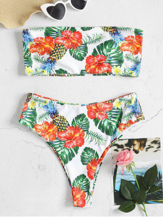 64129b0e4603f 14% OFF] 2019 Tropical Print High Waisted Bikini Set In MULTI-J | ZAFUL