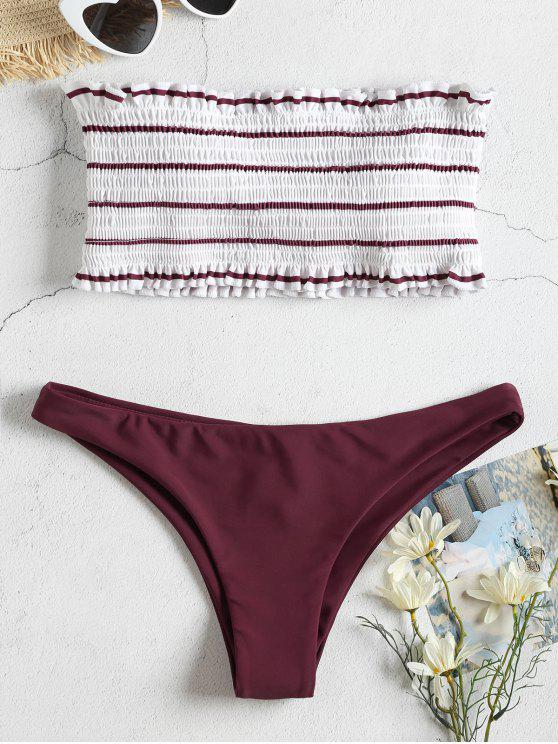 fashion Striped Smocked Bandeau Bikini Set - FIREBRICK M