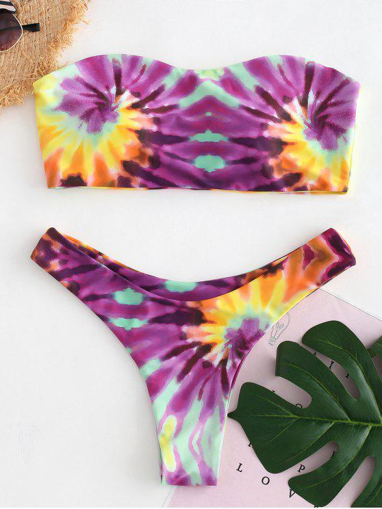buy ZAFUL Tie Dye Bikini Set - HELIOTROPE PURPLE S