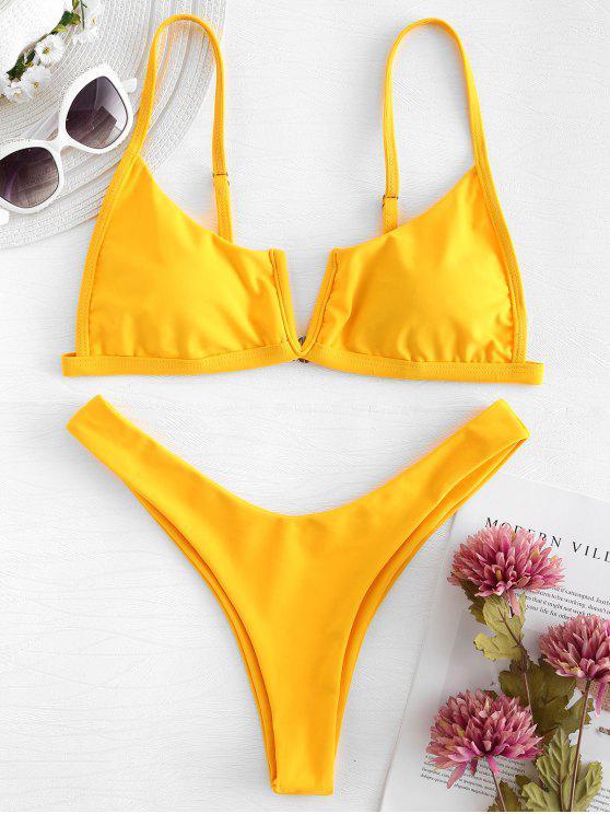 Bikini de Pierna Alta con Cable en V - Caucho Ducky Amarillo L