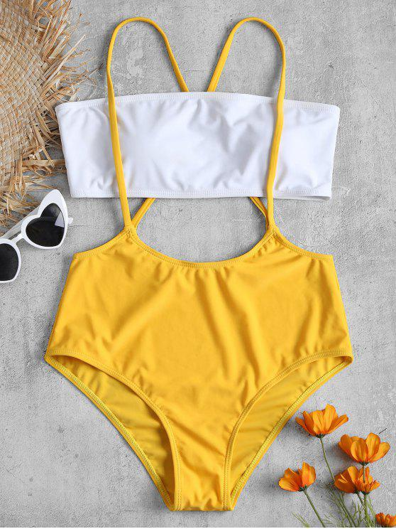shop Two Tone Bandeau Top and Crisscross Straps Swim Bottoms - BRIGHT YELLOW M