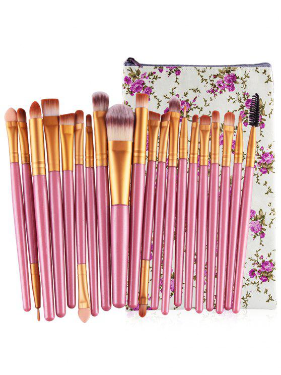 Profesional 20Pcs Ultra Soft Foundation Eyebrow Eyeshadow Corrector Set con bolsa - Cerdo Rosa