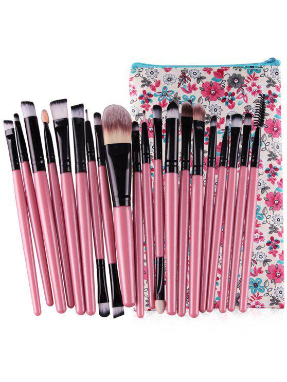 womens Professional 20Pcs Ultra Soft Foundation Eyebrow Eyeshadow Concealer Brush Set with Bag - PINK