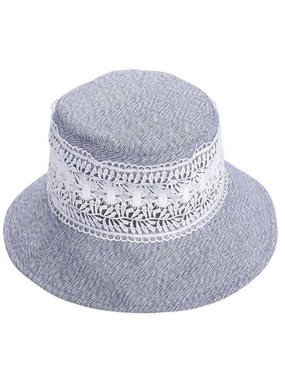 new Vintage Hollow Out Lace Bucket Sun Hat - BLUE GRAY