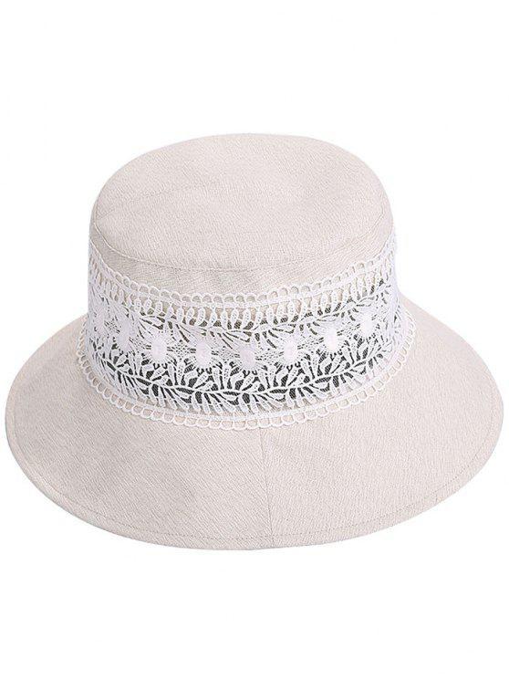 قبعة شمسية واسعة مزينة بالدانتيل - اللون البيج