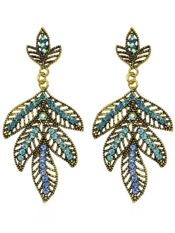Pendientes colgantes de hojas de diamantes de imitación de color - Azul
