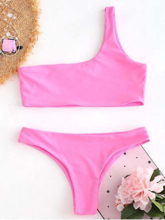 hot Unlined One Shoulder Bikini Set - HOT PINK S