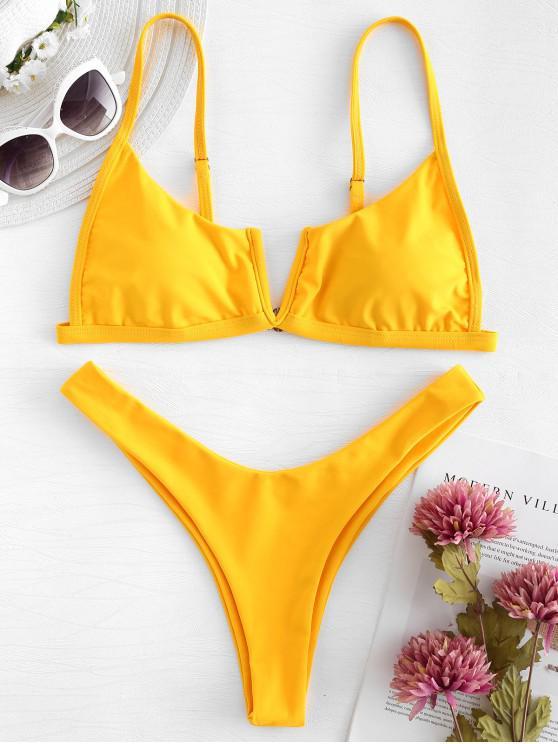 V-Verdrahtet  Bikini- Set mit Hohem Bein - Niedliches Gummi Gelb S