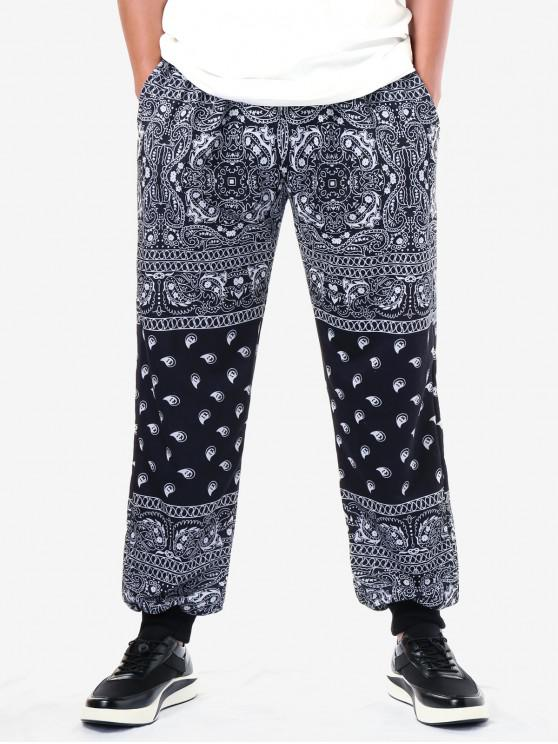 ladies Ethnic Paisley Print Drawstring Jogger Pants - BLACK 2XL