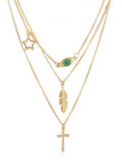 Star Leaves Cross Decoration Layer Necklace - Gold