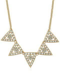 Triangle Designed Rhinestone Chain Necklace - Gold