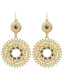 Hollow Out Rhinestone Round Shaped Dangle Earrings - Black