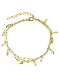 Leaves Design Layered Chain Anklet - Gold