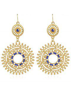 Hollow Out Rhinestone Round Shaped Dangle Earrings - Blue