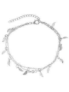 Leaves Design Layered Chain Anklet - Silver
